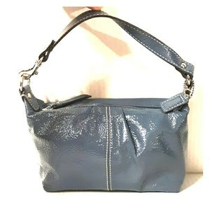 Rare COACH Blue Pleated Patent leather Demi Baguet